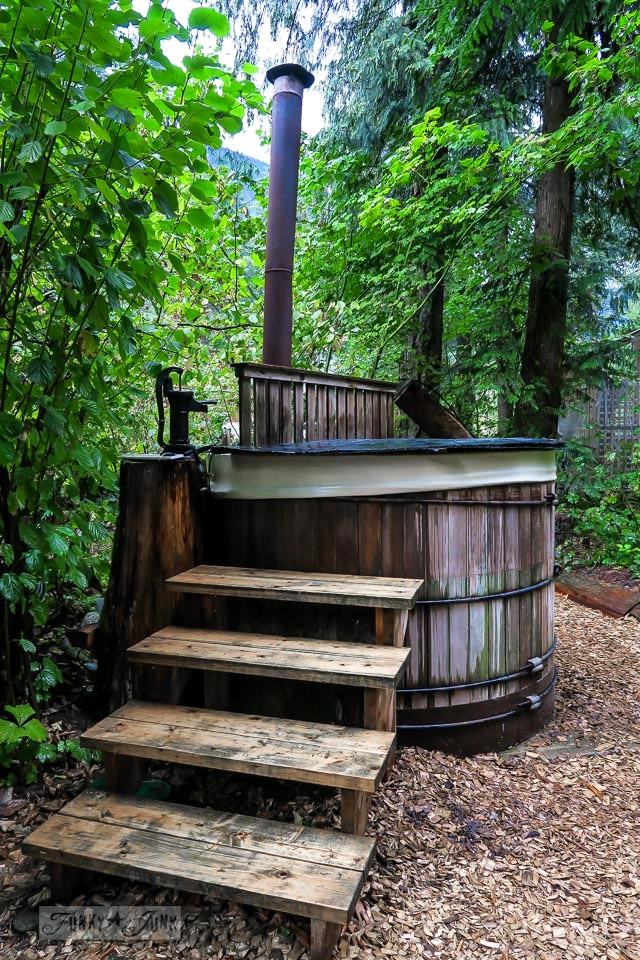 Wood heated hot tub at the Eco Retreat in Hope, British Columbia, Canada | funkyjunkinteriors.net