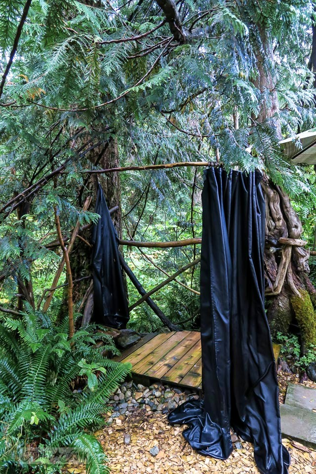 Outdoor shower made from branches at the Eco Retreat in Hope, British Columbia, Canada | funkyjunkinteriors.net
