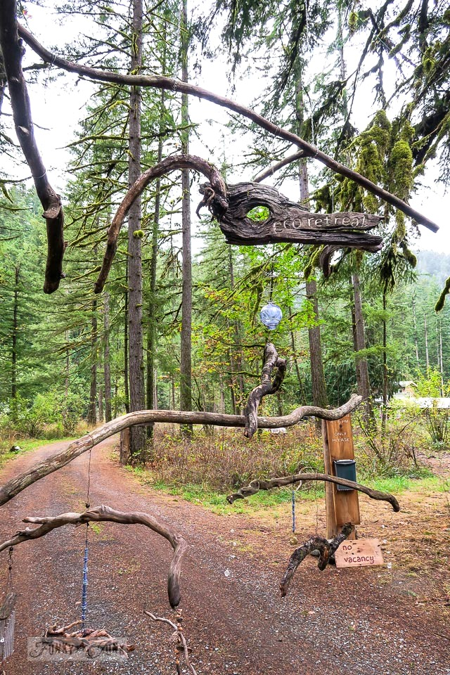 Unique Eco Retreat front gate made from hanging branches, wind chime style, in Hope, British Columbia, Canada | funkyjunkinteriors.net