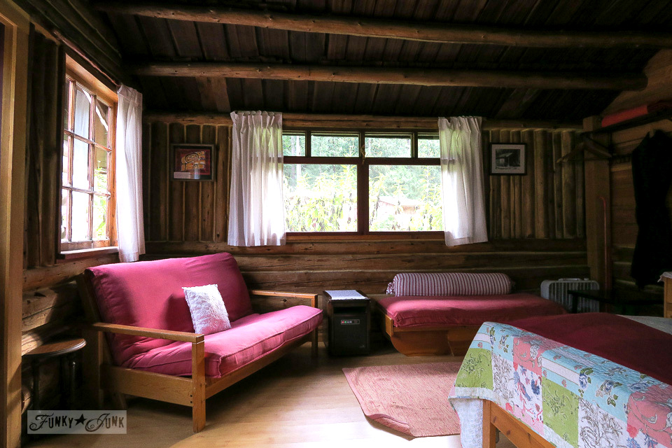 Inside the big cozy cabin at the Eco Retreat in Hope, British Columbia, Canada | funkyjunkinteriors.net