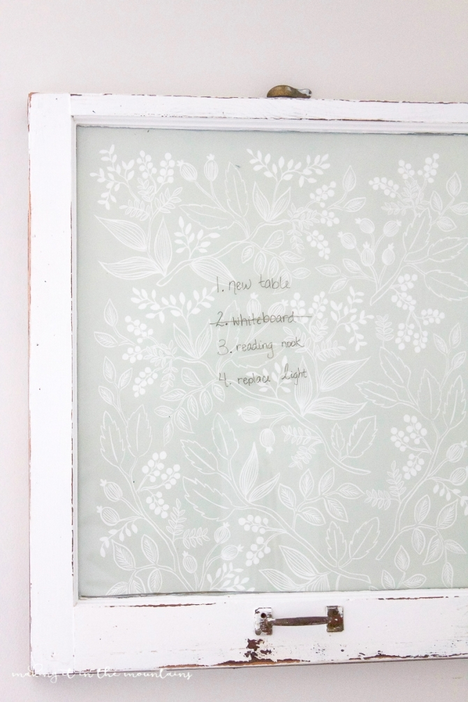 Farmhouse style DIY dry erase board, by Lolly Jane, featured on Funky Junk Interiors