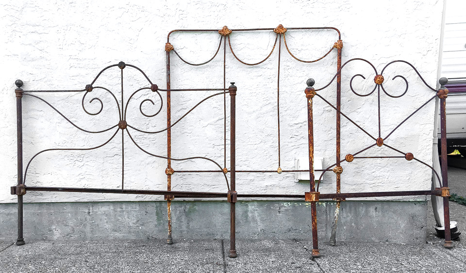 Rusty antique headboards for a garden or decorating | funkyjunkinteriors.net