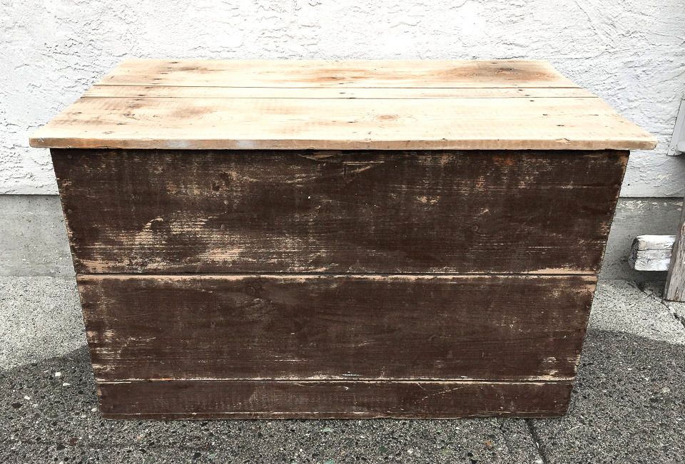 Chocolate brown with a wood top wooden crate or trunk | funkyjunkinteriors.net