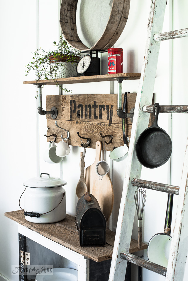Industrial farmhouse reclaimed wood and pipe PANTRY sign shelf, created with Funky Junk's Old Sign Stencils and Fusion Mineral Paint | funkyjunkinteriors.net