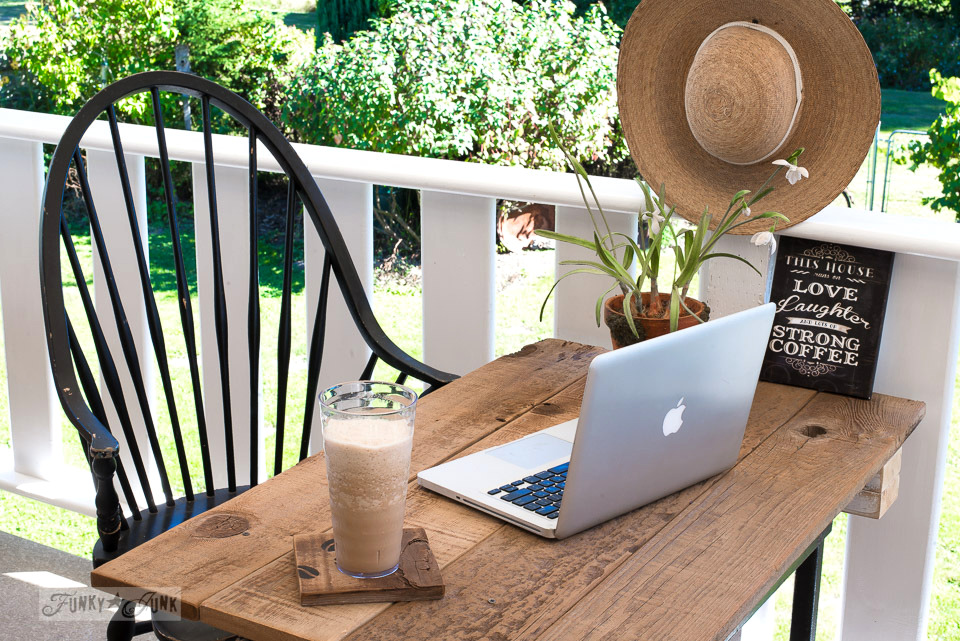 Enjoying frothy homemade iced coffee outside on the patio | funkyjunkinteriors.net