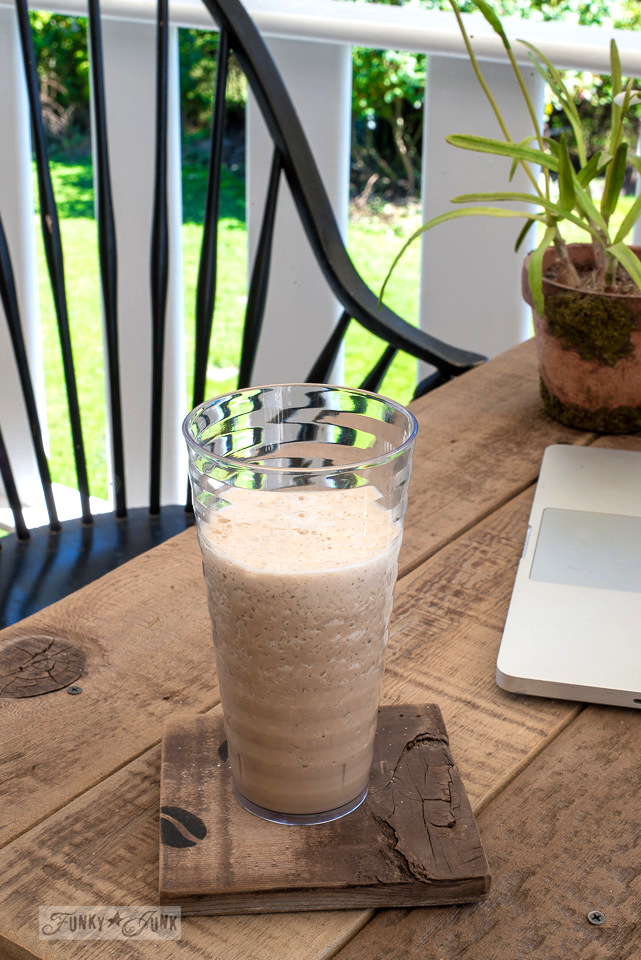 Frothy homemade iced coffee with simple ingredients! | funkyjunkinteriors.net