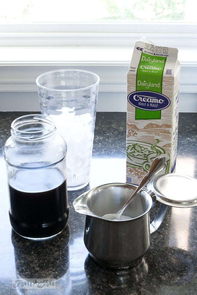 Ingredients to make iced coffee, leftover black coffee, cream, sugar and ice cubes | funkyjunkinteriors.net