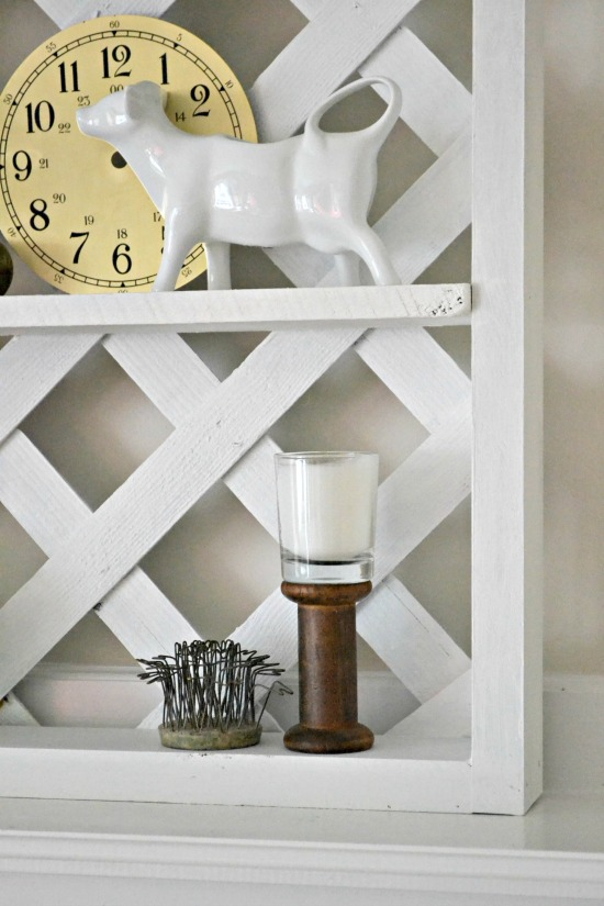 Lattice display shelf from reclaimed wood, by Homeroad, featured on Funky Junk Interiors