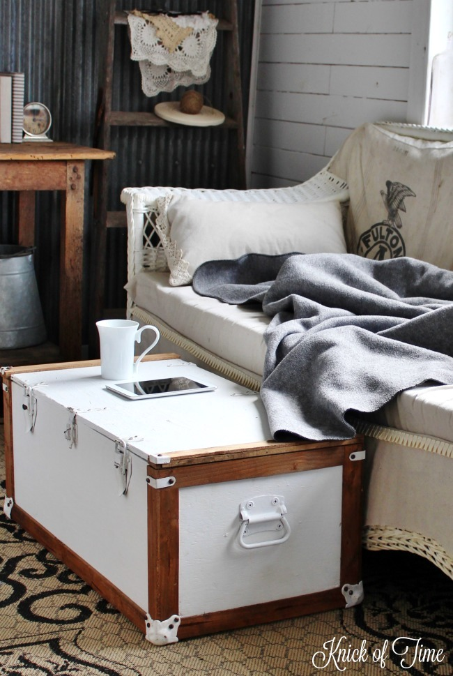 Military trunk farmhouse coffee table, by Knick of Time, featured on Funky Junk Interiors