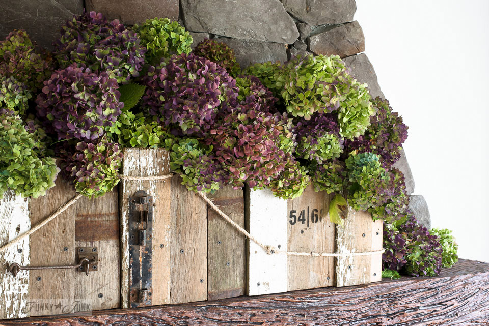 Lime and purple hydrangeas in a window box for a fall mantel | funkyjunkinteriors.net