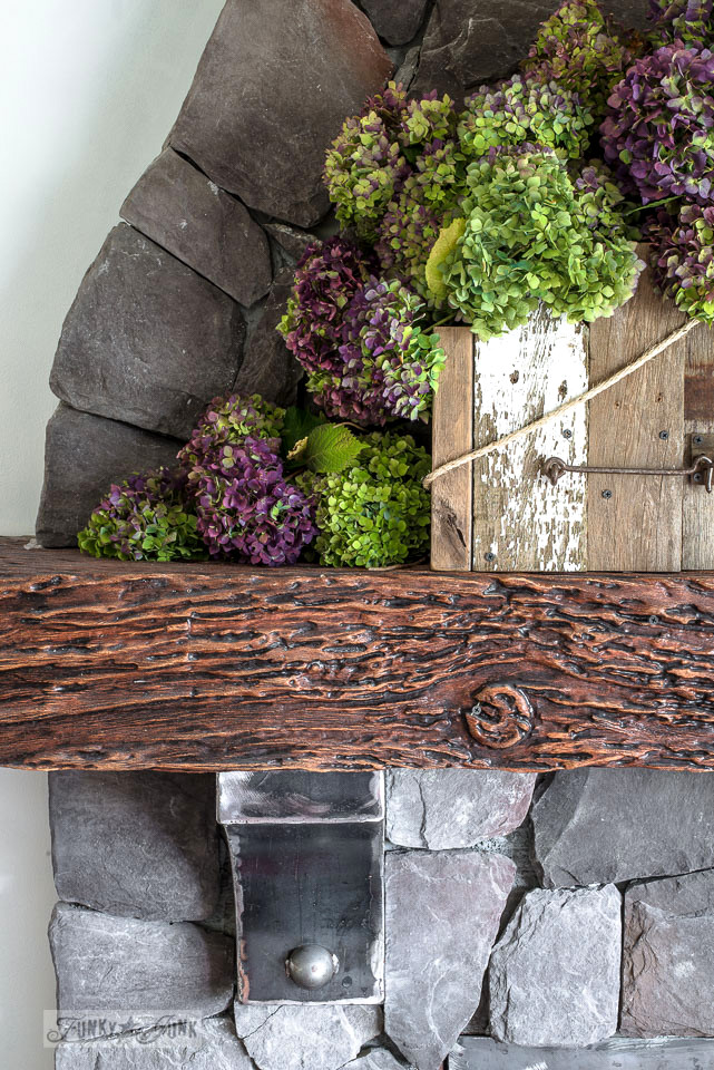 Stacked lime and purple hydrangeas for a fall mantel | funkyjunkinteriors.net