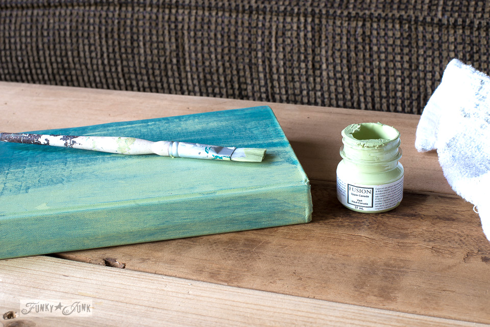 Painting a book with Fusion's Upper Canada Green | funkyjunkinteriors.net