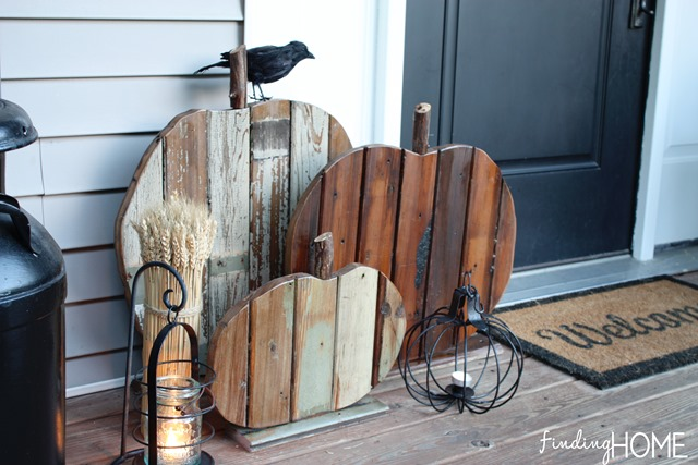 Reclaimed wood rustic pumpkins, by Finding Home Farms, featured on Funky Junk Interiors