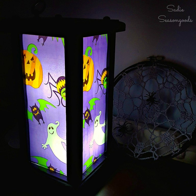 Halloween lantern from upcycled candle decor, by Sadie Seasongoods, featured on Funky Junk Interiors