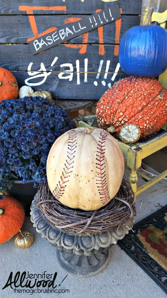 Sports fanatic baseball styled fall pumpkin vignette, by The Magic Brush, featured on Funky Junk Interiors
