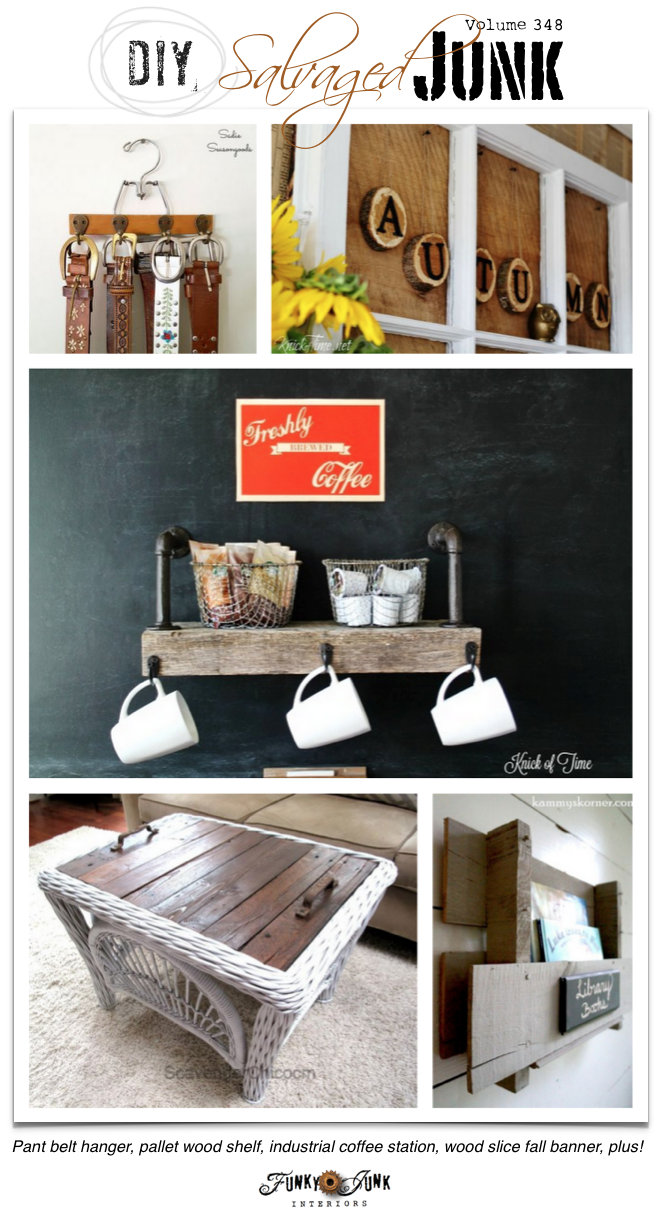 DIY Salvaged Junk Projects 348 - repurposed ideas plus a themed linkup on funkyjunkinteriors.net