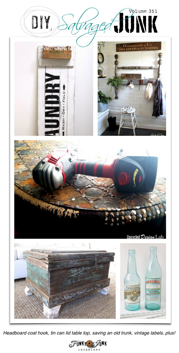 DIY Salvaged Junk Projects - tin can table top, saving an old trunk, plus! Features and a junk link party on funkyjunkinteriors.net