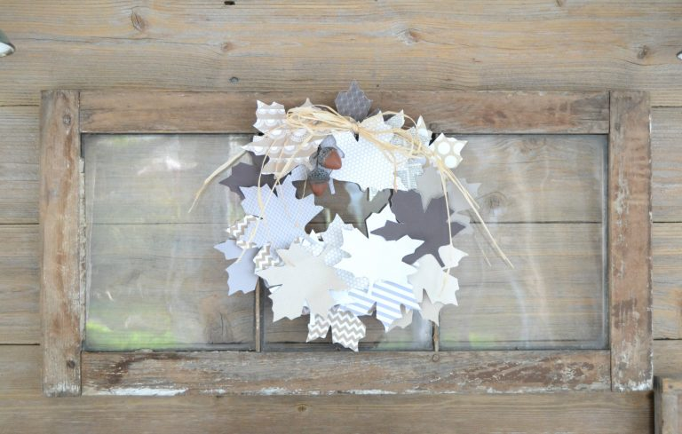 Paper fall leaves wreath on an old window, by My Creative Days, featured on Funky Junk Interiors