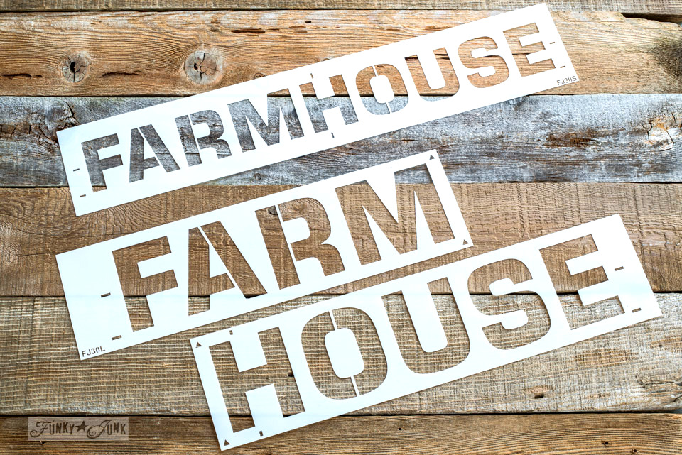 Farmhouse stencil from Funky Junk's Old Sign Stencils