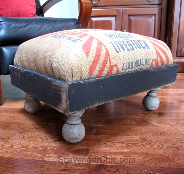 Feedbag and pallet wood ottoman upcycle, by Scavenger Chic, featured on Funky Junk Interiors