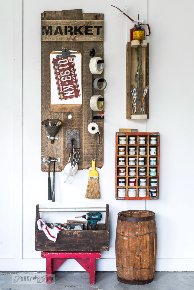 The making of a sign inspired reclaimed wood tool and paint work station from junk | funkyjunkinteriors.net