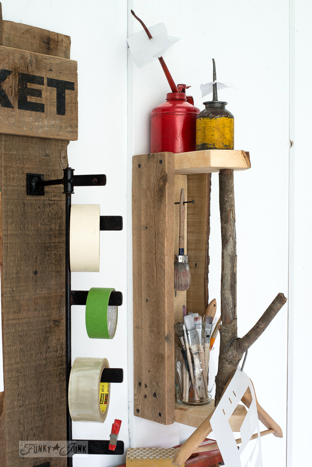 Branch handled reclaimed wood toolbox shelf with oil can reciept holders, part of a tool junk work station | funkyjunkinteriors.net