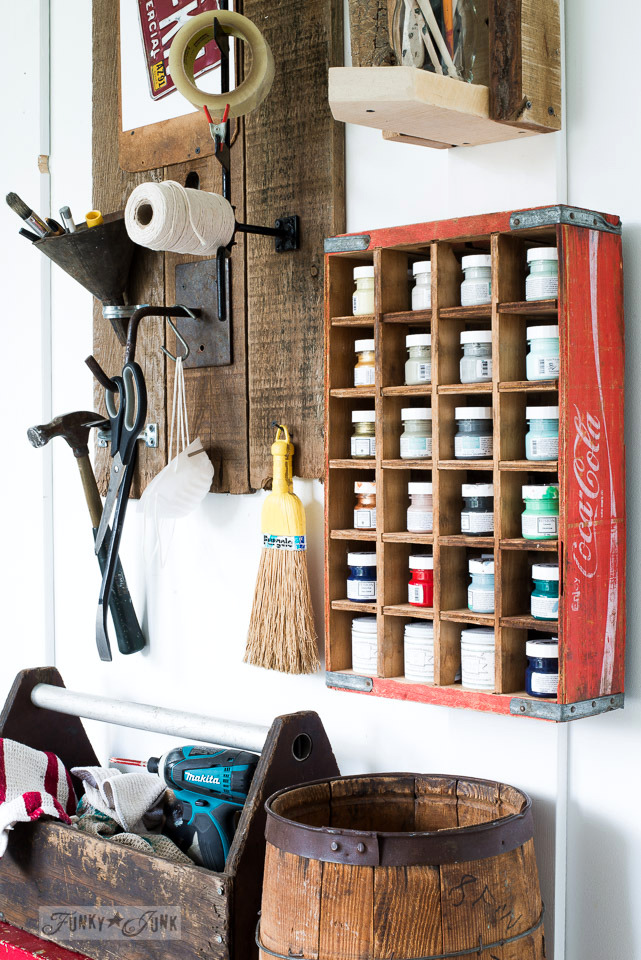 Vintage coke crate paint storage, part of rusty junk sign themed tool and paint stations | funkyjunkinteriors.net