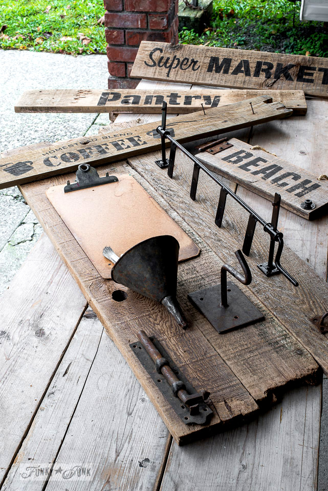 The making of a sign inspired reclaimed wood tool and paint work station | funkyjunkinteriors.net