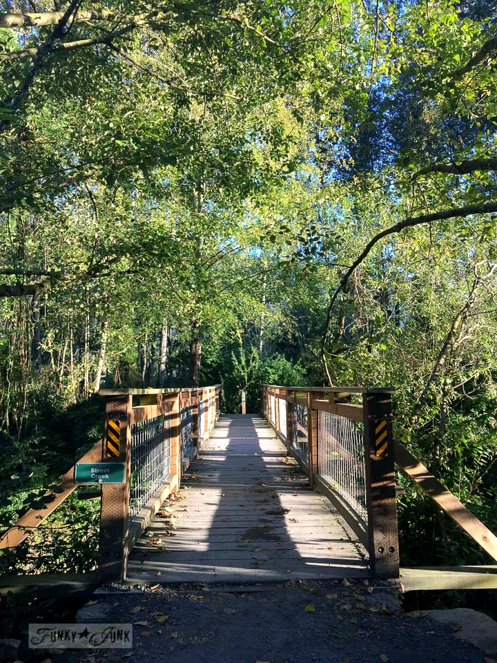 fall bikeride over a wooden bridge | funkyjunkinteriors.net