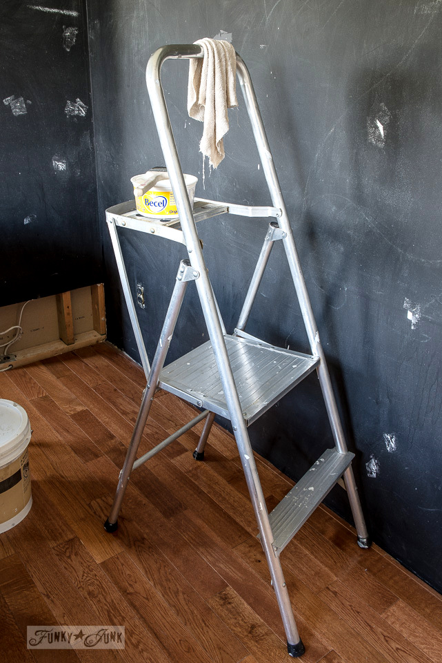 The standing platform aluminum stepladder - part of My favorite ceiling painting gear and tips, while working on a boy's bedroom | funkyjunkinteriors.net