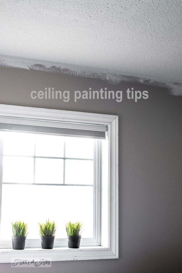 My favorite ceiling painting gear and tips, while working on a boy's bedroom | funkyjunkinteriors.net