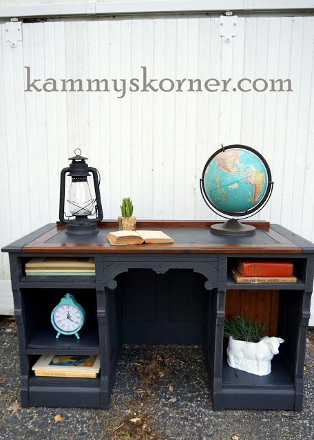 From drawers to shelves desk upcycle, by Kammy's Korner, featured on Funky Junk Interiors