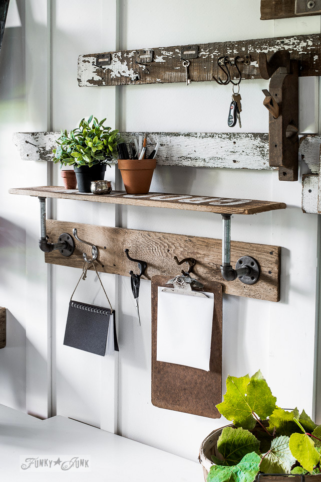 Warming up a fall entry with an industrial farmhouse reclaimed wood shelf as a mini writing station. | funkyjunkinteriors.net