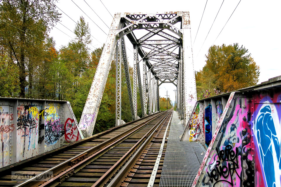 Graffiti-marked trail bridge that crosses the river at the Vedder River Rotary Trail in Chilliwack, British Columbia, Canada