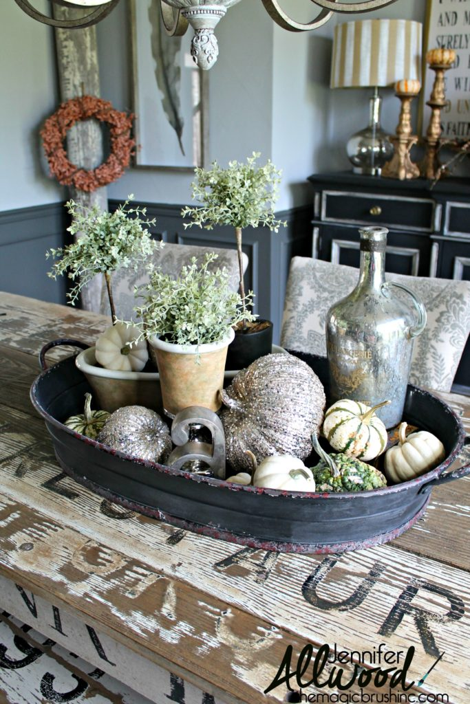 Metallic fall accents tray, by The Magic Brush, featured on Funky Junk Interiors