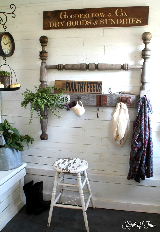 Farmhouse style spindle headboard coat rack for a front entry, by Knick of Time, featured on Funky Junk Interiors