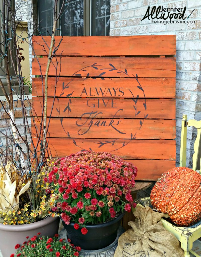 Give Thanks stencilled pallet wood fall sign, by The Magic Brush, featured on Funky Junk Interiors