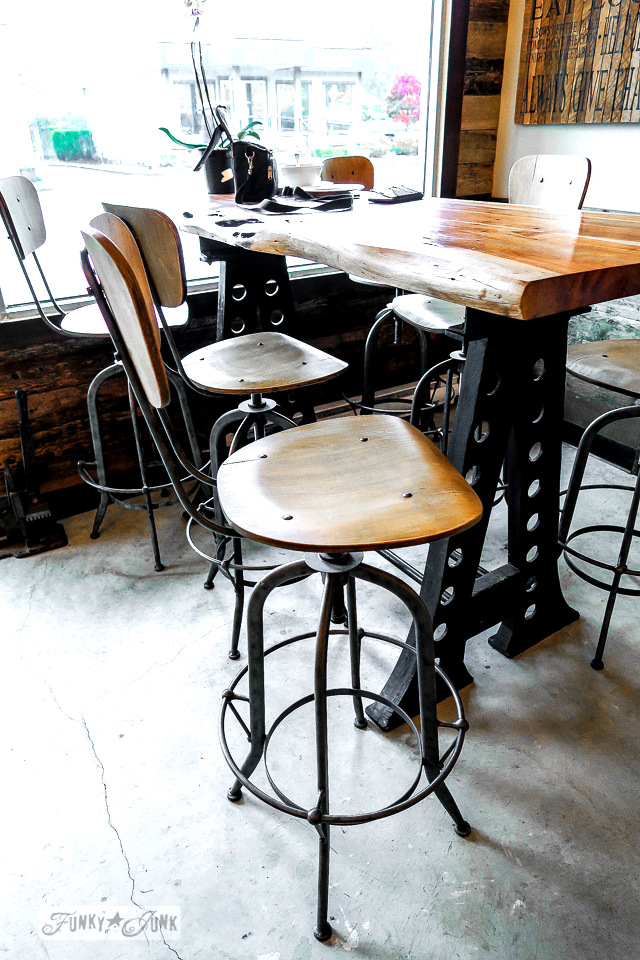 Industrial wood and metal table and stools in HazelSprings Organic Bakery, a coffee shop in Chilliwack, BC Canada | funkyjunkinteriors.net