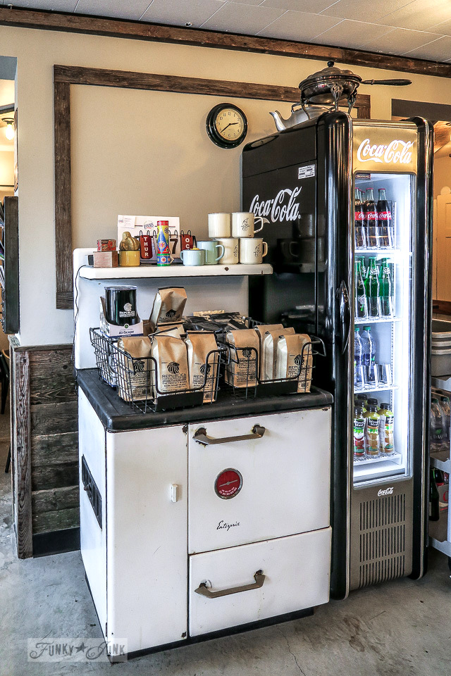 Vintage stove and mini Coke machine at Hazelsprings Organic Bakery, an industrial coffee shop in Chilliwack, BC Canada | funkyjunkinteriors.net
