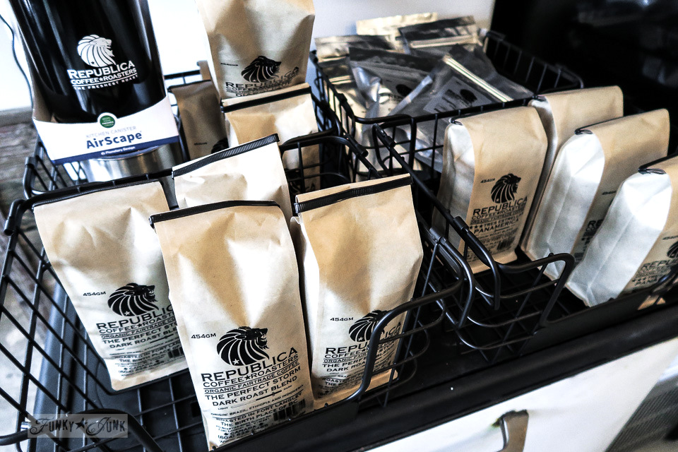 Republica coffee for sale in black metal baskets at Hazelsprings Organic Bakery, an industrial coffee shop in Chilliwack, BC Canada | funkyjunkinteriors.net