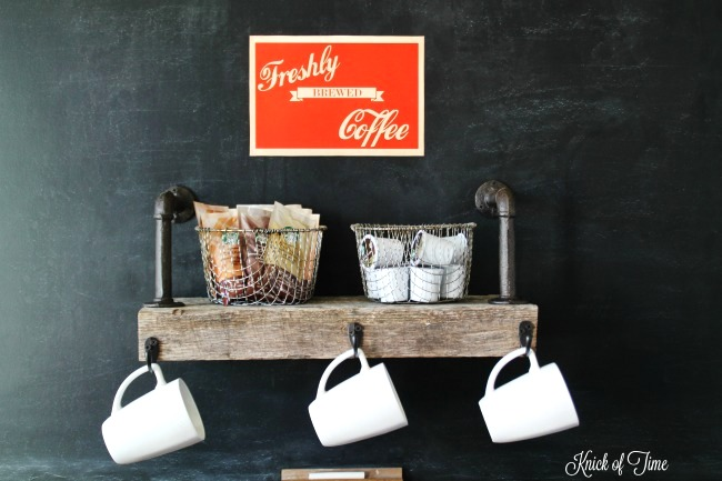 Industrial farmhouse reclaimed wood and pipe coffee station, by Knick of Time, featured on Funky Junk Interiors