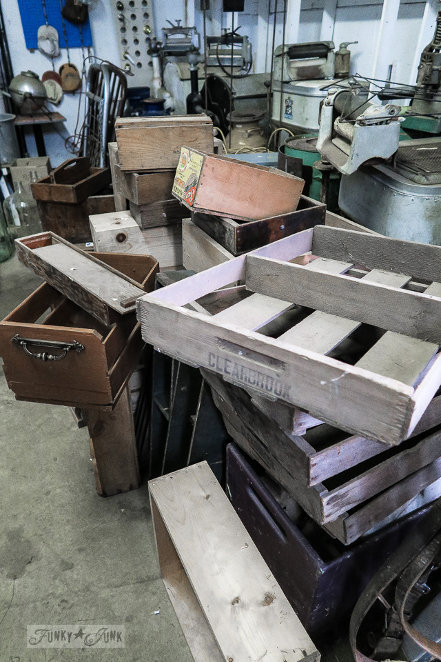 stacked berry crates from Clearbrook, at Granny & Grumpa's Antiques | funkyjunkinteriors.net