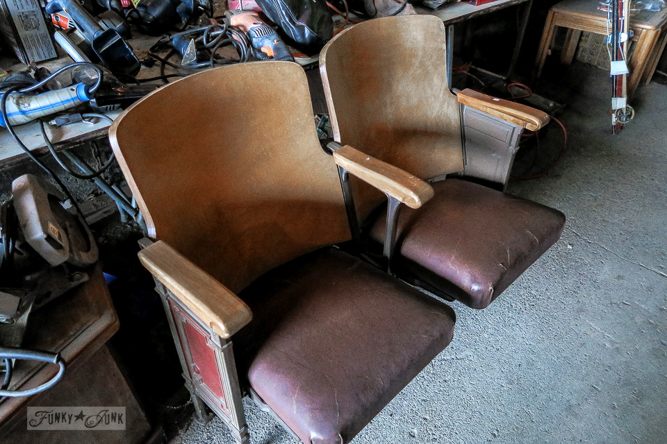 Antique leather and wood theatre seats at Granny & Grumpa's Antiques | funkyjunkinteriors.net