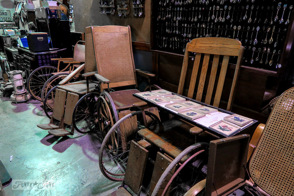 Antique wooden wheel chairs while shopping at Granny & Grumpa's Antiques | funkyjunkinteriors.net