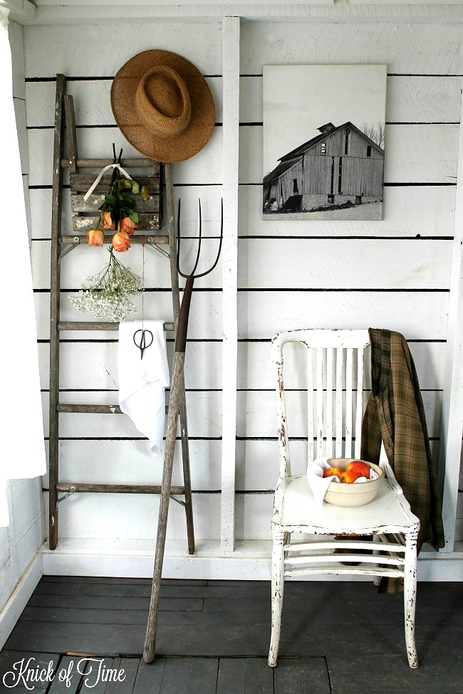 Farmhouse styled ladder and pitchfork wall decor, by Knick of Time, featured on Funky Junk Interiors