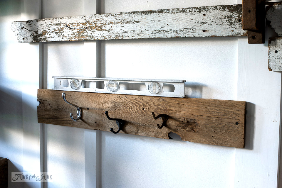 How to install a industrial farmhouse shelf with reclaimed wood and random vintage hooks for a fall entry | funkyjunkinteriors.net