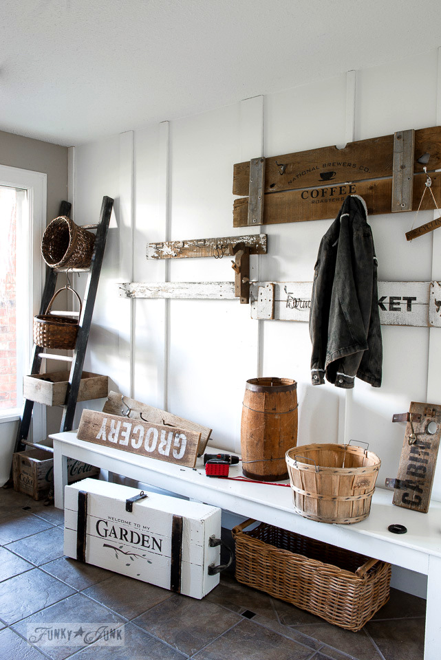 Revamping a summer entry into fall with rustic baskets and reclaimed wood | funkyjunkinteriors.net