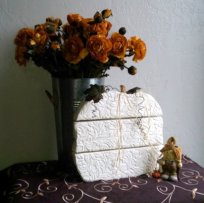 DIY textured pumpkin, by Arm Chair Decorator Blog, featured on Funky Junk Interiors
