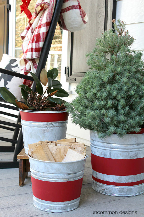 Vintage striped newly aged galvanized buckets, by Uncommon Designs, featured on Funky Junk Interiors