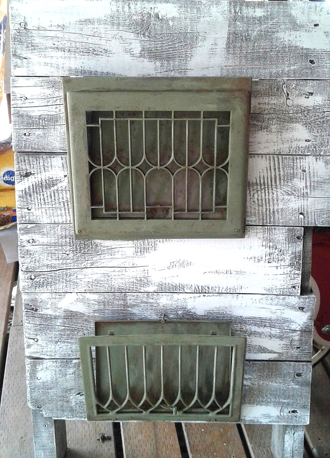 Repurposed vintage heat register plate magazine holders, by Rescue Rehab, featured on Funky Junk Interiors